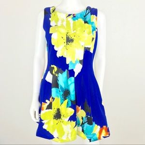 Vince Camuto 10 Floral Pleated Fit Flare Dress